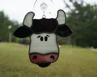 Stained Glass Cow Suncatcher