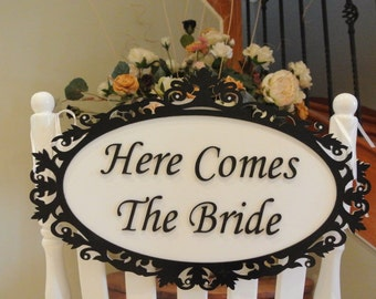 Unique  Wedding Sign, laser cut and hand painted with crystals here comes the bride