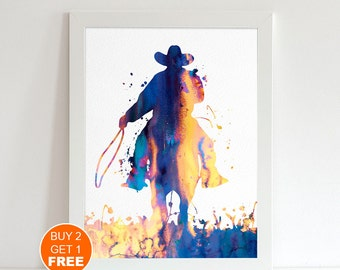 Cowboy watercolor print, cowboy art, cowboy illustration, western art print, wall decor, cowboy painting