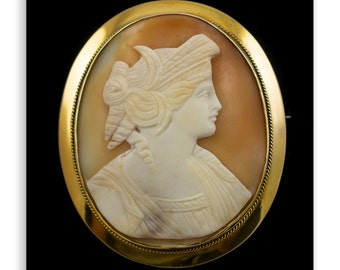 Antique Shell Cameo Brooch 9 Carat Gold Mount. Complete With Safety Chain Pin