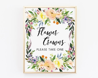 Flower Crowns please take one sign, party sign, floral sign, printable signs, party decor, wedding sign printable, baby shower sign