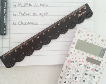 Black Lace wooden ruler