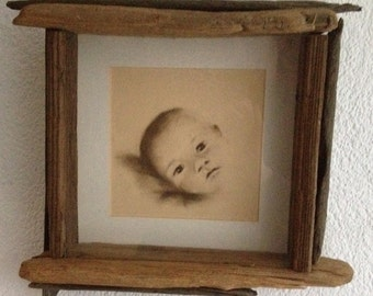 Driftwood wall art, pastel driftwood child portrait in sepia, umber, charcoal black, Art Warehouse, kids portraits