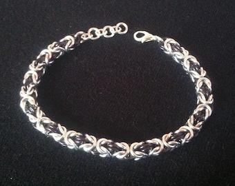 Byzantine Weave Bracelet - Black and Silver