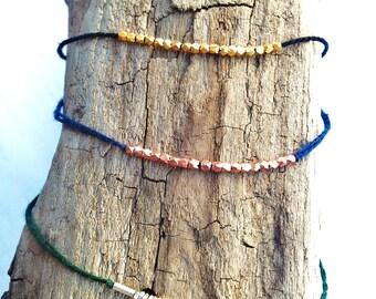 bracelet silver sterling  on green coton wire - Friendship - wish bracelet - wedding and layering bracelet