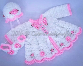 Baby Crochet Patterns, Crochet Cardigan Pattern, Crochet shoes, Crochet hat, baby cardigan, Baby shower, Christmas dress, baby girl gift