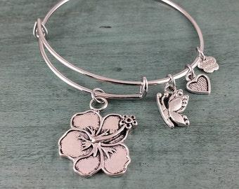 Hibiscus Adjustable Bangle Bracelet