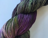 """SANDIA 4 oz/434 yds - hand dyed fine fingering sock weight yarn, colorway """"The Witch & the Toad"""""""