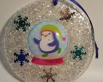Penguin Snowglobe Window Ornament