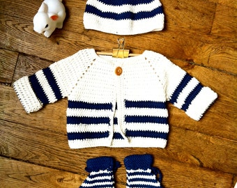All baby 9 to 12 months sea-faring cotton and bamboo