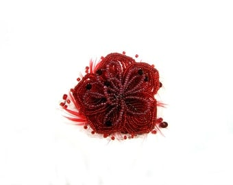 Red Flower Brooch - Seed Beads and Feathers
