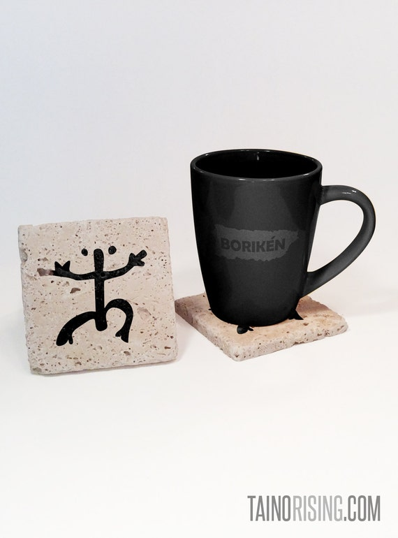 Taino coqui frog petroglyph stone drink coaster set for for Natural stone coffee mugs
