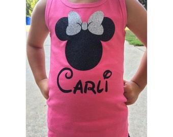 Disney Minnie Mouse Personalized Tank - Disney Trip - Disney Vacation - Disney World - Girls Disney World Shirt - Minnie Mouse