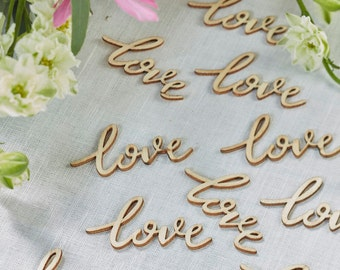 Wooden Table Confetti, Love, Love Word, Wooden Words, Craft Supplies, Wedding Decorations, DIY Wedding, Wooden Shapes, Card Making Supplies
