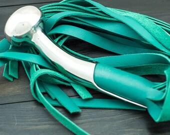 Chrome Hame Ball Green Leather Flogger