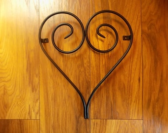 Wrought Iron (Forged Steel) Scrolled Heart Wall Feature+