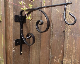 Wrought Iron (Hand Forged Steel) Custom Made Hanging Basket Bracket+