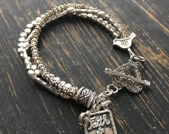 Multi strand silver bracelet