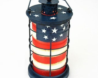 Patriotic American Flag Vintage Tealight Lantern July 4th