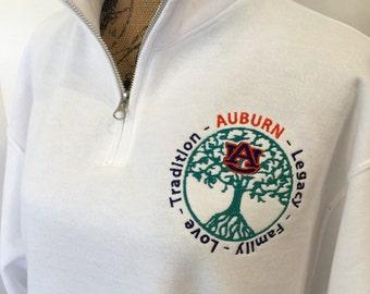SHIPS quickly! AUBURN Toomer's Corner Oak Trees sweatshirt, quarter-zip - makes a great gift!!!