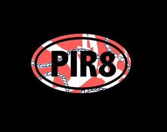 PIR8, Pirate Euro Decal, Lilly Inspired Vinyl, Choice of Pattern and Size!