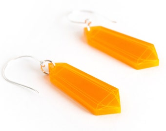 Fluorescent Orange Minimalist Crystal Earrings, Laser Cut Acrylic, Neon Jewelry, Geometric Earrings, Futuristic Jewelry