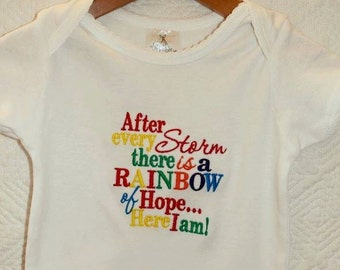 Rainbow of hope embroidred baby vest