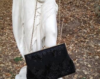 Vintage 1980's Black Beaded Handbag * La Regale