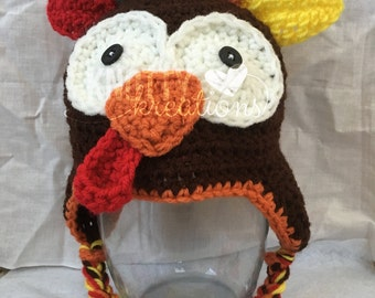 Crochet Turkey Beanie// Turkey Hat// Thanksgiving Beanie