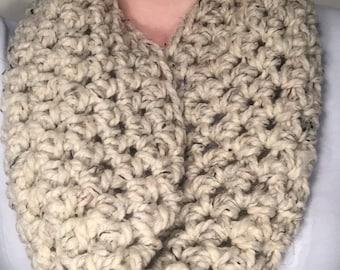Cream Infinity Scarf, Loop Scarf, Crochet Scarf, Wool Scarf