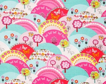 Michael Miller Happy Hills Multi - 100% Cotton Fabric - PRE-WASHED - 9.50 Yard