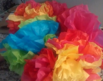 Bright and beautiful Tissue paper flower bouquet.