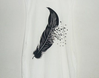 Feather tank top cut off shirt off-white tee size XS S one size **sleeveless top **singlet **teen girl women clothes