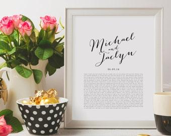 PRINTABLE Wedding Vows Keepsake Print for Newlyweds & Anniversaries - Calligraphy