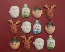 12 Snowman Santa Reindeer Elf edible cupcake cake toppers Christmas decorations