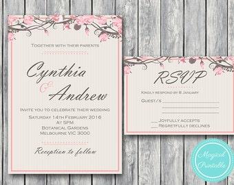 Pink Floral Wedding Invitation Set, Wedding Invitation Printable, Bridal Shower, Baby Shower Invite, Wedding Invitation Suite tg05 WD43 WI04