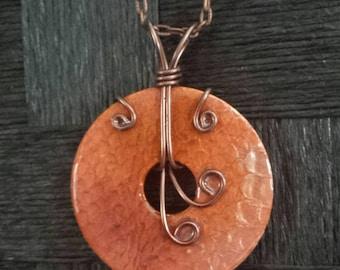 Snakeskin Necklace, Pendant, Orange, Copper, Washer Jewelry,  Unique,  Original, Wire wrapped, Copper Chain