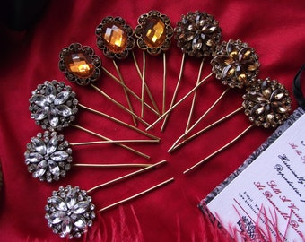 HA-0095 - Crystal Hair Pins - Georgian Hair Pin, Renaissnace Hair Pin, Regency Hair Pin, Wedding Hairpin