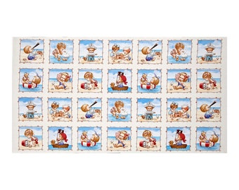 "Beach Kids - Seaside Memories - Cream 100% Cotton Quilt Panel 24"" x 44"""