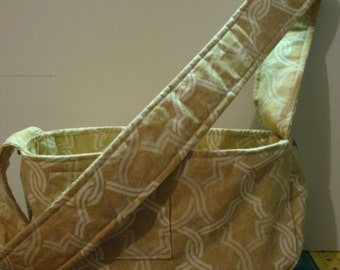 Little Dog Carrier Sling Bag - Beige /White