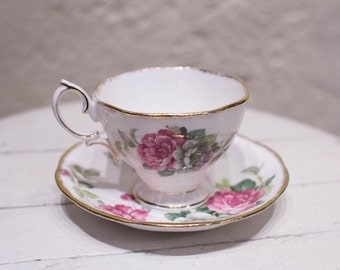Vintage Royal Albert Footed Teacup & Saucer Set Evening Rhapsody Pink and Grey Floral Teacup