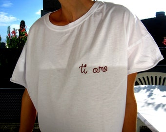 "T-shirt hand-painted ""Ti amo"" / ""i love you"""