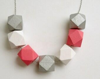 Geometric wooden necklace - Pop of colour - Watermelon