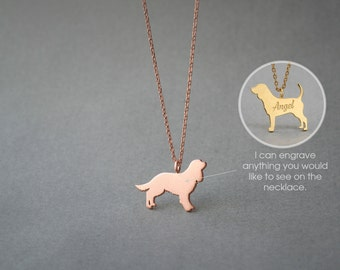 14K Solid GOLD Tiny Cavalier KING CHARLES Spaniel Name Necklace - King Charles - Gold Dog - 14K Gold or Rose Plated on 14k Gold Necklace