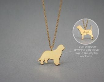 14K Solid GOLD Tiny NEWFOUNDLAND DOG Name Necklace - Newfoundland Dog Necklace - Gold Dog - 14K Gold or Rose Plated on 14k Gold Necklace