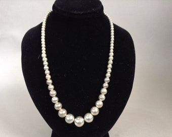 "Sterling Silver Graduated ""Navajo Pearl"" Necklace"