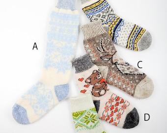 Angora socks Woolen Socks Hand knitted socks [SS-12]