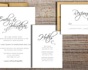 Flourished Script Wedding Invitation Suite - Printable Wedding Invitation Suite, DIY Wedding Invitation