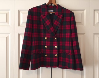 Pendleton Red and Green Plaid Blazer
