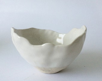 Small Pinched Glossy White Vessel